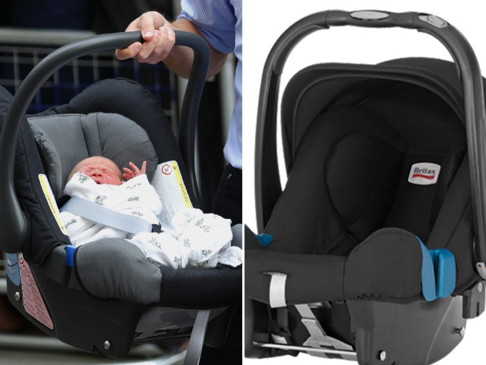 Prince William and Catherine, Duchess of Cambridge' newborn baby boy seen in a car seat outside the Lindo Wing of St. Mary's Hospital in London on July 23.