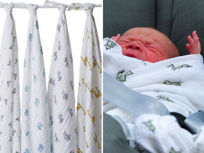 "The new prince was wrapped in the ""jungle jam swaddle"" from Aden + Anais."