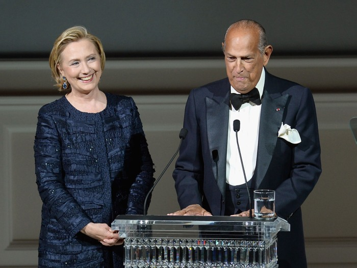 Hillary Rodham Clinton and Oscar de la Renta onstage at the 2013 CFDA Fashion Awards on June 3, 2013 in New York, United Stat...