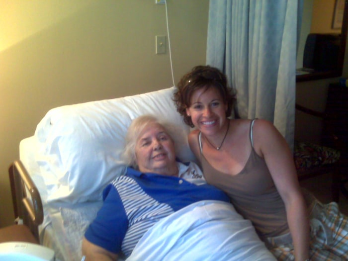 Jenna Wolfe visits her grandmother, Estelle, in the hospital in 2008.