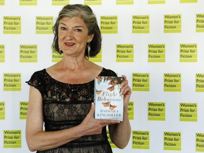 "Barbara Kingsolver, author of ""Flight Behaviour"", poses for photographers before the announcement of the  2013 Women's Prize for Fiction at the Royal ..."