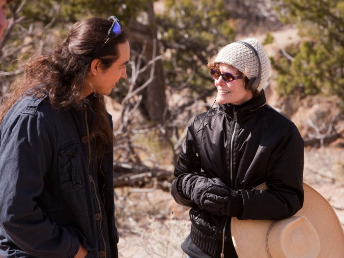 """Actor Tatanka Means converses with author Judy Blume on the set of """"Tiger Eyes"""""""