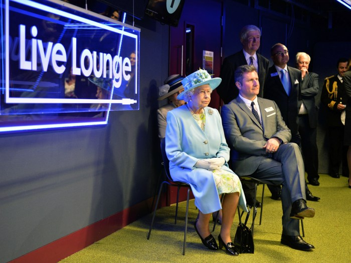 "Queen Elizabeth also took in a performance by the Irish band The Script in the BBC's ""Live Lounge."""