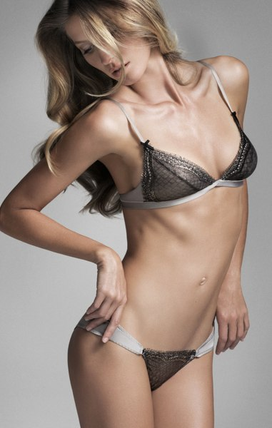 Supermodel Gisele Bündchen models for her own line of lingerie, Gisele Bündchen Brazilian Intimates.