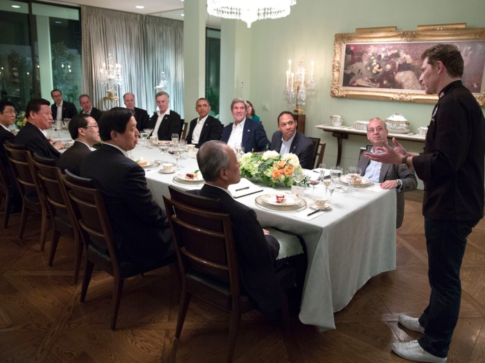 Chef Bobby Flay is introduced at the conclusion of a working dinner between President Barack Obama and President Xi Jinping of the People's Republic o...
