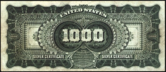 Image: Back of silver certificate worth $1,000 that sold for $2.6 million.
