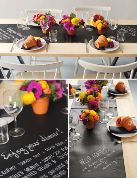 Chalkboard table setting from http://blog.heylook.fi/