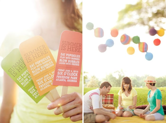 Popsicle invitations from designsponge.com via Pinterest