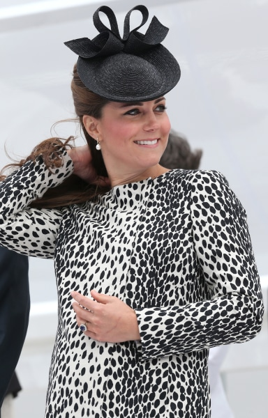 The duchess wore a black-and-white animal print Hobbs coat dress to the ship naming.