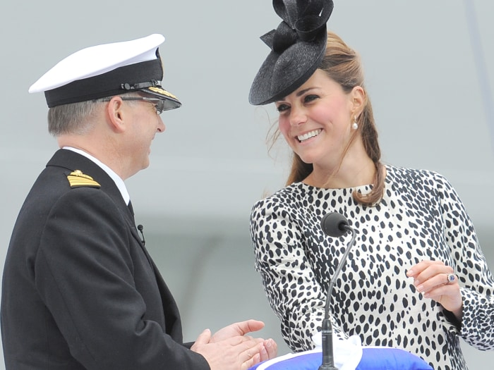 The Duchess of Cambridge officially names the Royal Princess with a traditional blessing involving smashing a bottle over the ship's hull in what is expected to her final solo engagement before the birth of her and Prince William's child.
