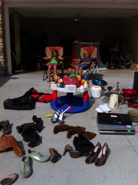 The  Cloutier family garage sale. Eric  Cloutier wanted his kids to participate because he wanted them to understand the process of selling stuff and helping people, his wife said.