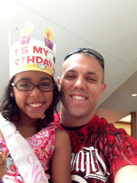 U.S. marine Chris Victoria was able to make it home to Augusta, Ga., to surprise his daughter, Alycia, for her ninth birthday in advance of Father's Day thanks to a program run by the non-profit organization Operation Homefront and Dove Care+Men.