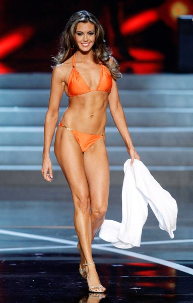 Miss Connecticut Erin Brady competes in the swimsuit portion of the Miss USA pageant at the Planet Hollywood Resort and Casino in Las Vegas, Nevada Ju...