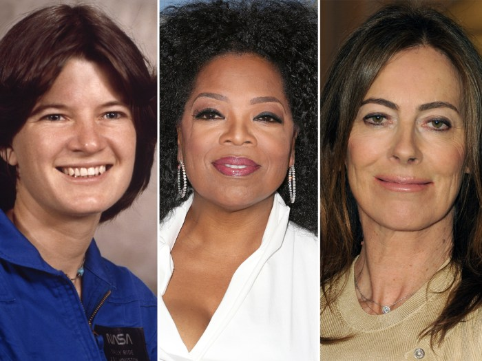 Trailblazers Sally Ride, Oprah Winfrey and Kathryn Bigelow.