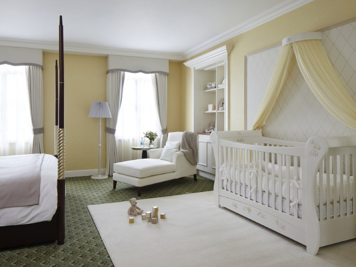 Grosvenor House's Suite Dreams' hotel room with nursery was hand crafted by Dragons, the company that designed the nurseries of Princes' William and Harry.