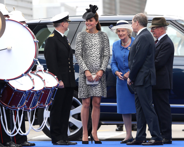 Duchess Kate at her final solo public appearance, an official naming ceremony for a Princess Cruise ship, before the birth of her first child.