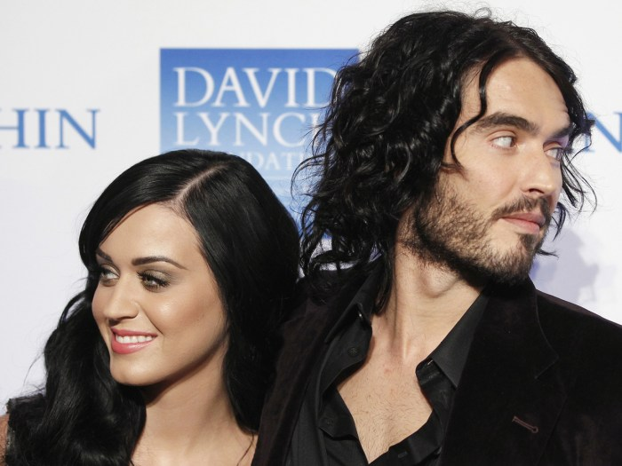 Singer Katy Perry arrives with her husband, actor Russell Brand, for the annual David Lynch Foundation benefit celebration in New York in this Decembe...
