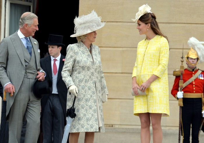 Prince Charles, his wife, Camilla, and Duchess Kate at the Queen's annual  Garden Party last month.