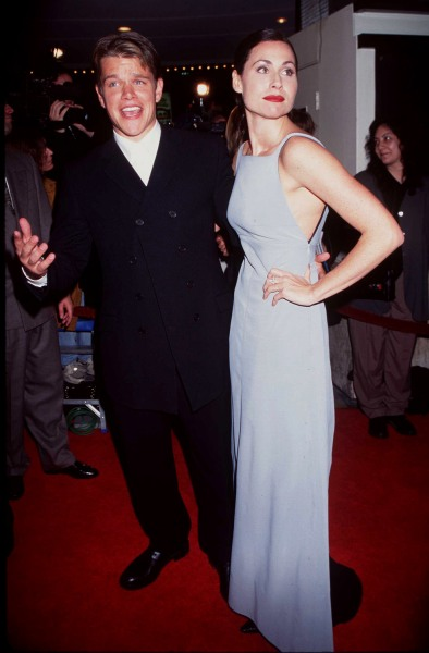 """12/2/97 WestWood, Ca Matt Damon and Minnie Driver at the movie premiere of """"Good Will Hunting."""""""