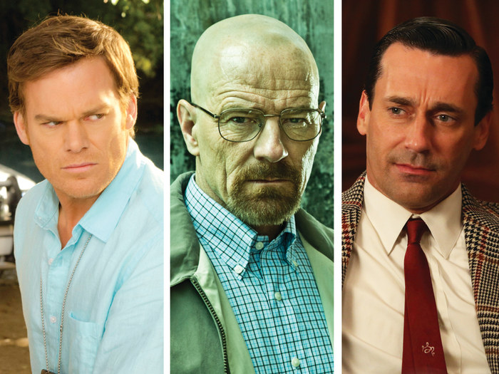 "Image: Michael C. Hall as Dexter on ""Dexter,"" Bryan Cranston as Walter White on ""Breaking Bad,"" and Jon Hamm as Don Draper on ""Mad Men."""