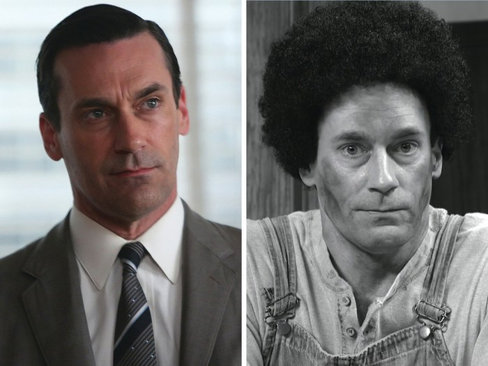 "Image: Jon Hamm as Don Draper on ""Mad Men"" and Abner on ""30 Rock."""