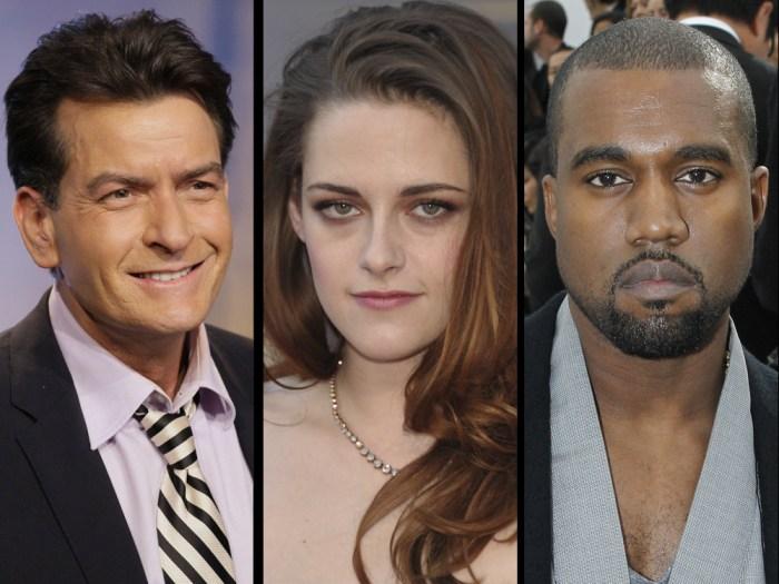 IMAGE: Charlie Sheen, Kristen Stewart and Kanye West
