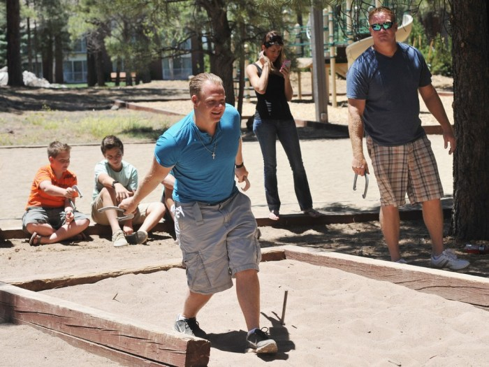 FLAGSTAFF, AZ - JUNE 23: (EXCLUSIVE COVERAGE) Nik Wallenda plays horseshoes with his family and friends in the hours before his historic highwire walk...