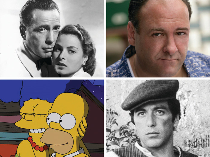 """Image: """"Casablanca,"""" """"The Sopranos,"""" """"The Simpsons"""" and """"The Godfather Part 2."""""""