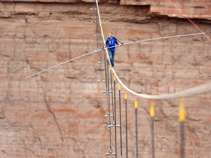 "Nik Wallenda, a seventh-generation member of the famous ""Flying Wallendas"" family, became the first person to walk across the Grand Canyon on a wire that's the width of two bottle caps."