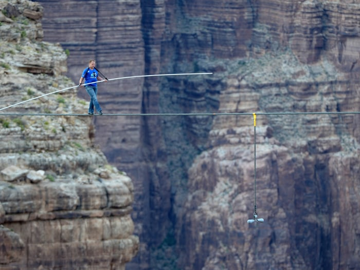The biggest challenge Wallenda faced was strong gusts of wind, which clocked in at 48 miles per hour before he started his walk.