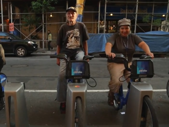 Students of a recent spin class Goldstein taught using New York's ride share program bikes.