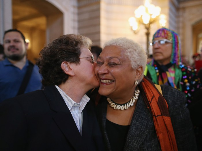 Many older members of the gay community who have experienced the struggles for equal rights over the years also rejoiced, like this couple in San Francisco that celebrated hearing the news.