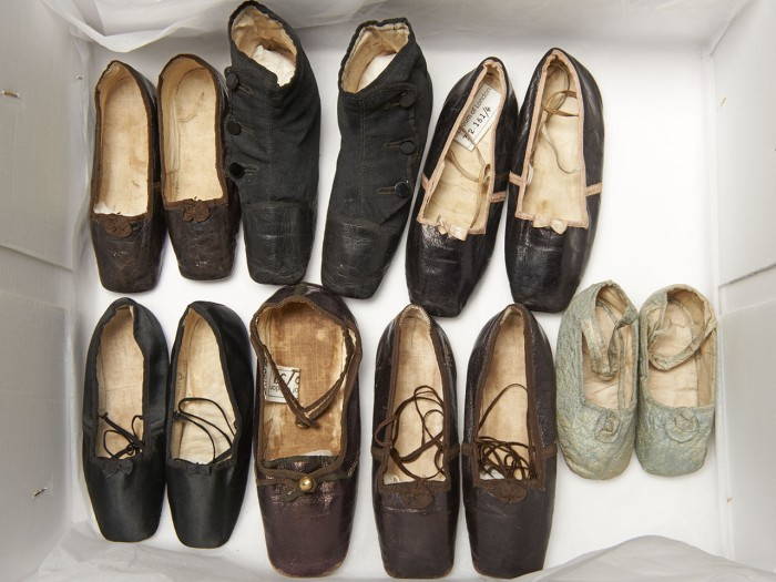 Shoes worn by Queen Victoria's children, including the boy who would become Edward VII
