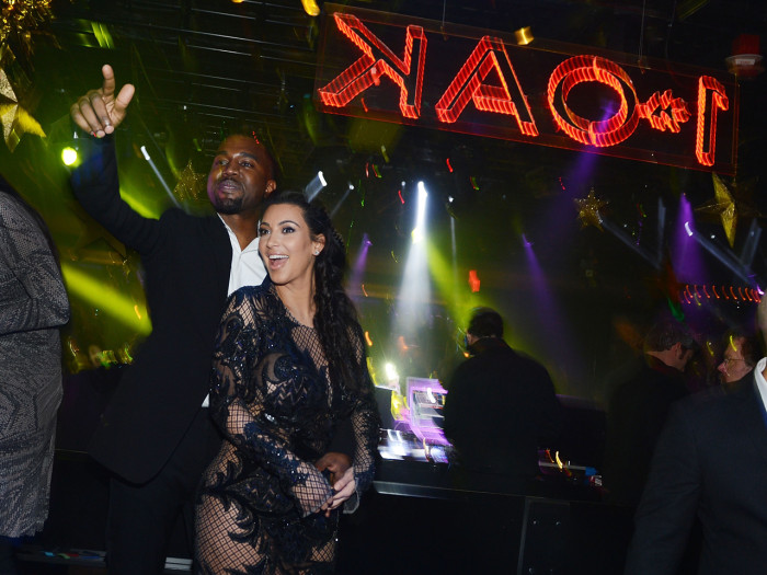 Kanye West and Kim Kardashian celebrate New Year's Eve on December 31, 2012 in Las Vegas, Nevada.