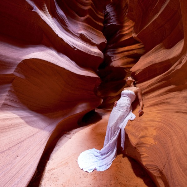 Jennifer Salvage took her dress to Antelope Canyon.