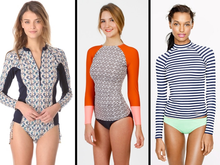 Chic rash guards from Tory Burch ($250), The Seea ($60) and J. Crew ($75).