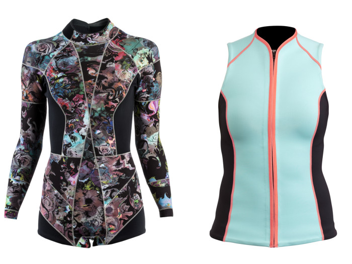 Stylish surf protection: Cynthia Rowley's floral wetsuit ($375) and a rash guard from the DVF Loves ROXY collection ($88).