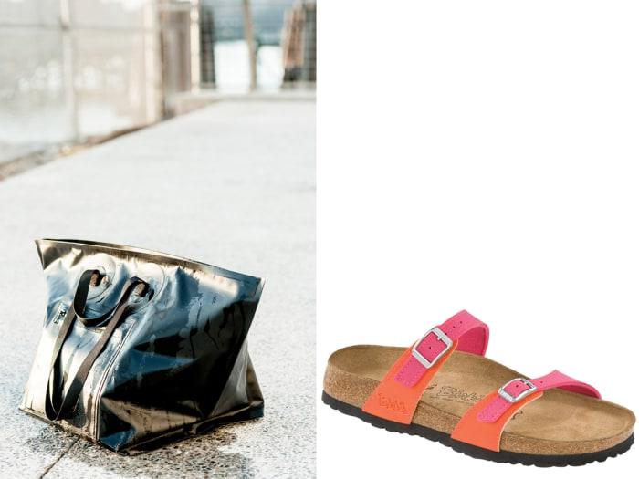 Baggu's all-weather wetsuit bag ($120) and Birki's neoprene and cork sandals ($89.95).