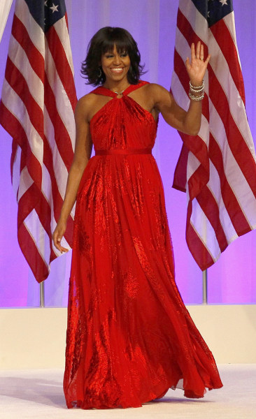 Michelle Obama opted to wear a Jason Wu dress to her husband's inaugural festivities in Washington, D.C., on Jan. 21, 2013.