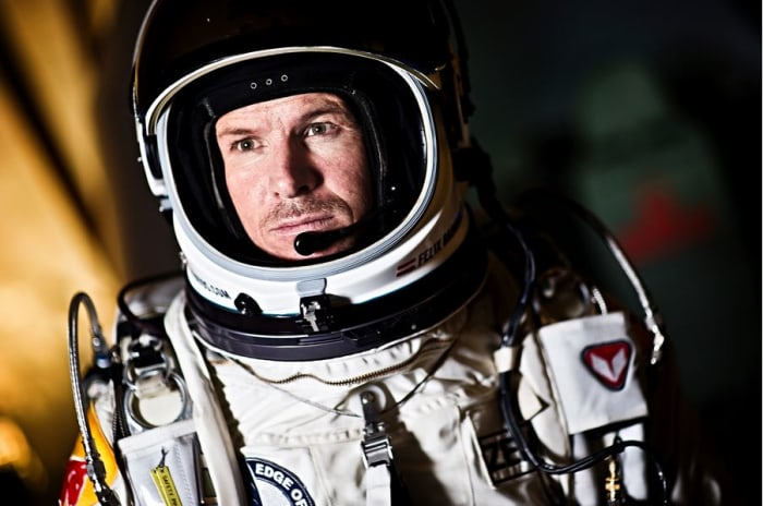 Pilot Felix Baumgartner of Austria seen during the first manned flight for the Red Bull Stratos mission in Roswell, New Mexico, USA on March 15 2012.