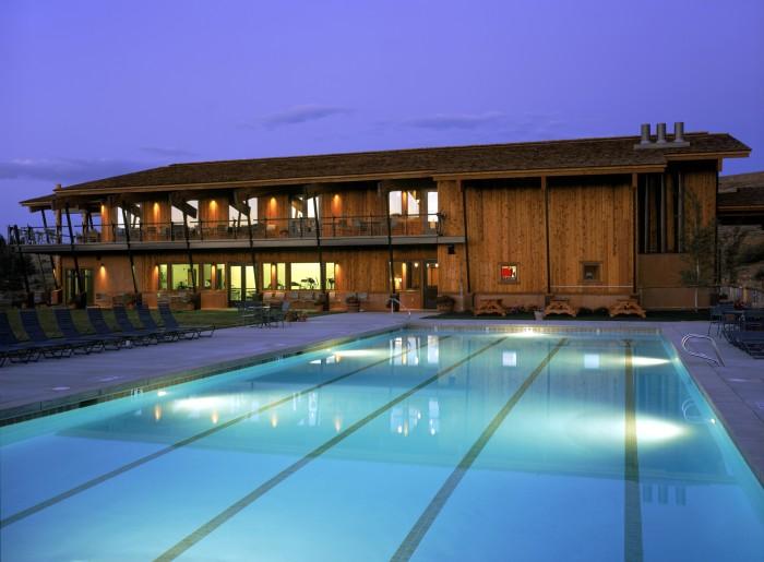 Spring Creek Ranch hotel pool at night.