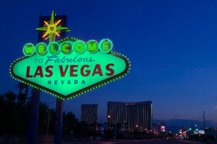 Green Vegas sign