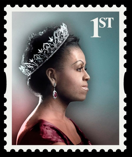 Image: Michelle Obama portrayed as queen on a British postage stamp in an ad