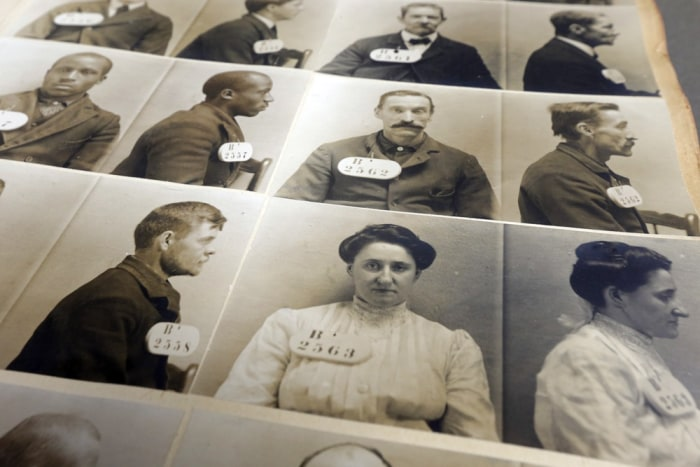 An excerpt out of the Eastern State Penitentiary 1904-1906 mug shot book  in Philadelphia.