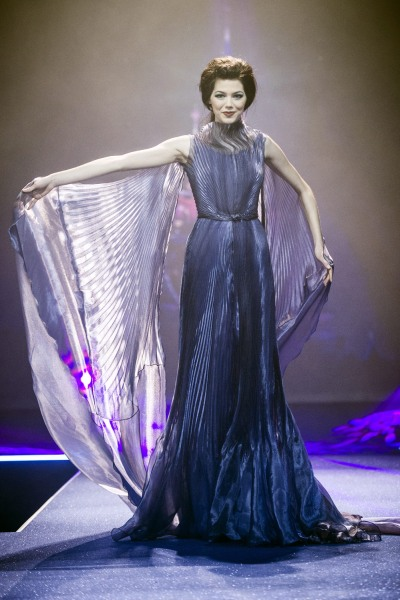 A model displays a creation by Italian fashion designer Luisa Beccaria during fashion show presenting the creations of various designers in relation w...