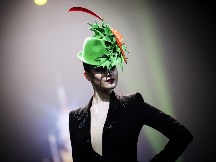 A model displays a creation by Irish fashion designer Philip Treacy during fashion show presenting the creations of various designers in relation with...
