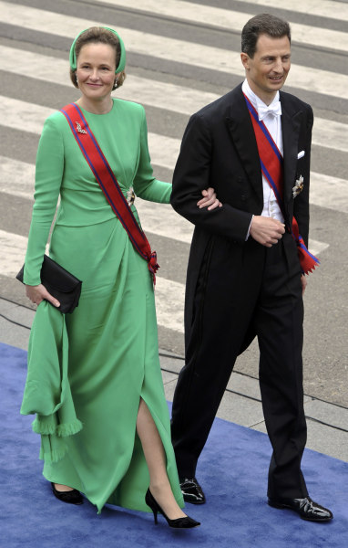Hereditary Prince Alois (R) and Hereditary Princess Sophie of Liechtenstein arrive for a religious ceremony at Nieuwe Kerk church in Amsterdam April 3...