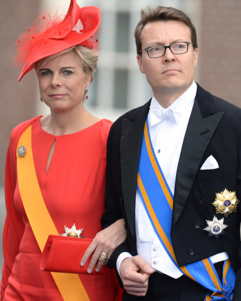 Prince Constantijn of the Netherlands and his wife Princess Laurentien leave the Nieuwe Kerk (New Church) in Amsterdam on April 30, 2013 after attendi...