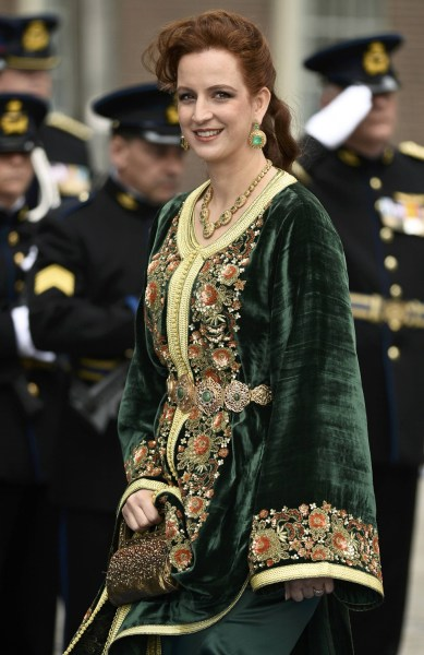 Princess Lalla Salma of Morocco leaves the Nieuwe Kerk church after the inauguration in Amsterdam April 30, 2013.  The Netherlands is celebrating Quee...