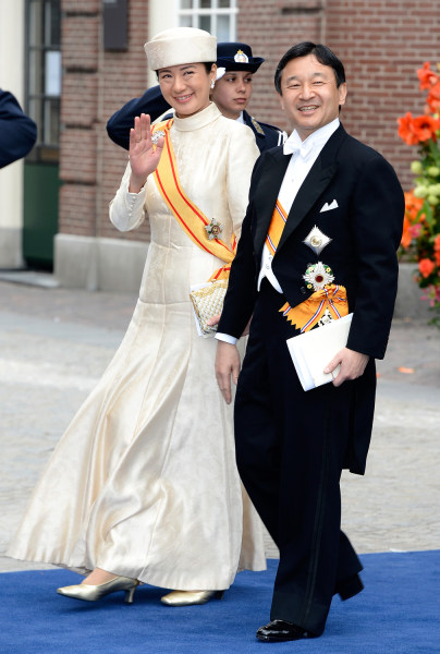 AMSTERDAM, NETHERLANDS - APRIL 30:  Crown Prince Naruhito and Crown Princess Masako of Japan depart the Nieuwe Kerk to return to the Royal Palace afte...